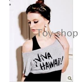 Spring tide dew shoulder new summer lady BianFuShan loose female vest T-shirt short sleeve T-shirt female