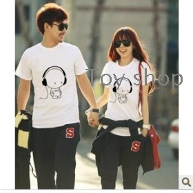 New summer of sweethearts outfit short sleeve T-shirt han edition cultivate one's morality lovers unlined upper garment men's ladies white short sleeve
