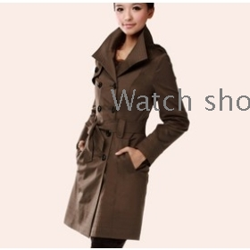 Han edition's women's clothing double-breasted coat dust coat big code 8882