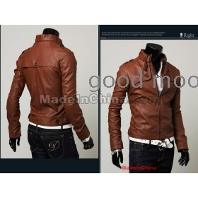 The new man leather coat cultivate one's morality han brief paragraph leather jacket male