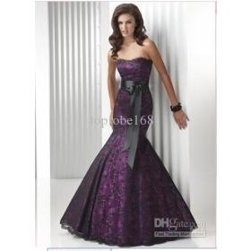 Mermaid Black/Fuchsia  Evening Prom Ball Gown Sash Strapless  Dress