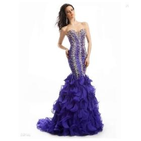 Custom Design!2012 New Sexy Sweetheart Exquisite Beading Organza Mermaid Evening Dresses