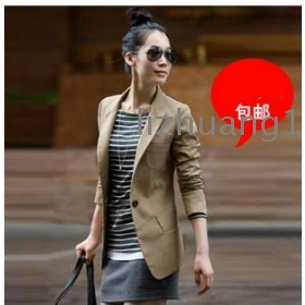 The new spring clothing small suit female han edition show thin big yards cultivate one's morality in short coat long suit