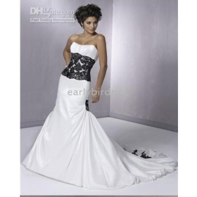 Full Refund Guarantee! Mermaid Sweetheart Court Train Taffeta Applique Wedding Dress Wedding Gown