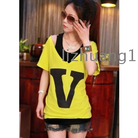Summer two-piece outfit short sleeve T-shirt han edition female bats sleeve T-shirt short sleeve dew shoulder T-shirt V brought letters T-shirt
