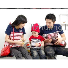 South Korea new spring clothing short sleeve T-shirt with the mother with a mother and daughter stripe parent-child outfit sundress with family