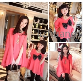 Chun xia hold new long sleeve skirt mother and daughter  pearl spins cloak with parents