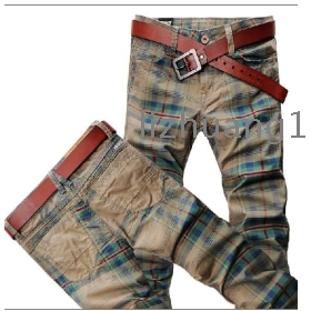 The new European  han edition jeans male cultivate one's morality color grid boom male jeans straight bottom cowboy