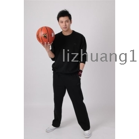 Pure cotton, sport suit of spring and autumn winter sports wear big yards sportswear middle-aged man sportswear