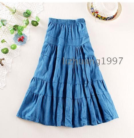 New female han edition Bohemian bust skirt denim skirt joining together big dress