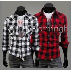 Men's cotton blending  buffalo plaid shirt casual slim long sleeve shirt C56