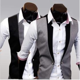 2013 autumn paragraph cloth faux two piece men's slim vest