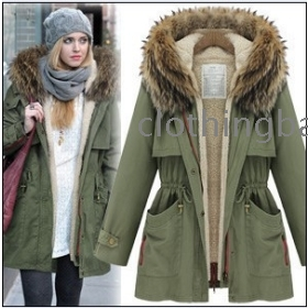 New arrival women fur collar Jacket warm coat for winter free shipping 6684