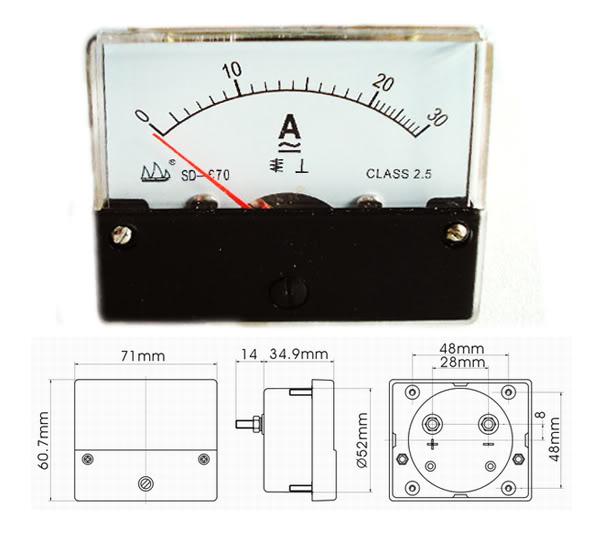 Analog Ac Amp Meter : Pc ac dc a analog panel amp meter current