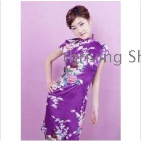 2012 new Chinese dress skirt restoring ancient ways of printing purple dress short Chinese dress