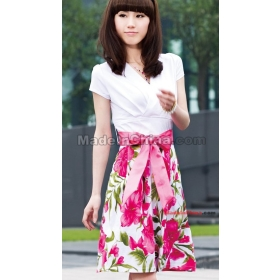 free shipping Printing short-sleeved dress   size M L XL XXL
