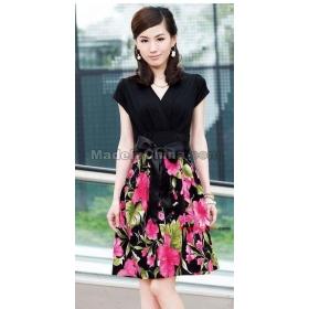 free shipping Printing short-sleeved dress size M L XL XXL Z2