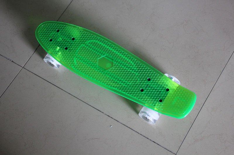 "free shipping 22"" brand Plastic Transparent Banana Board Mini Crusier skateboard penny fish children skateboard"