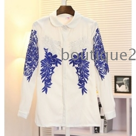 New Arrived Spring Chinese Style Blue And White Porcelain Embroidery Ornate Baroque Long-Sleeved Shirt Black White