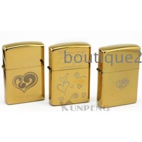 Free Shipping Wholesale Earth Lighter Golden Metal Kerosene Flame Heart 4pcs Set