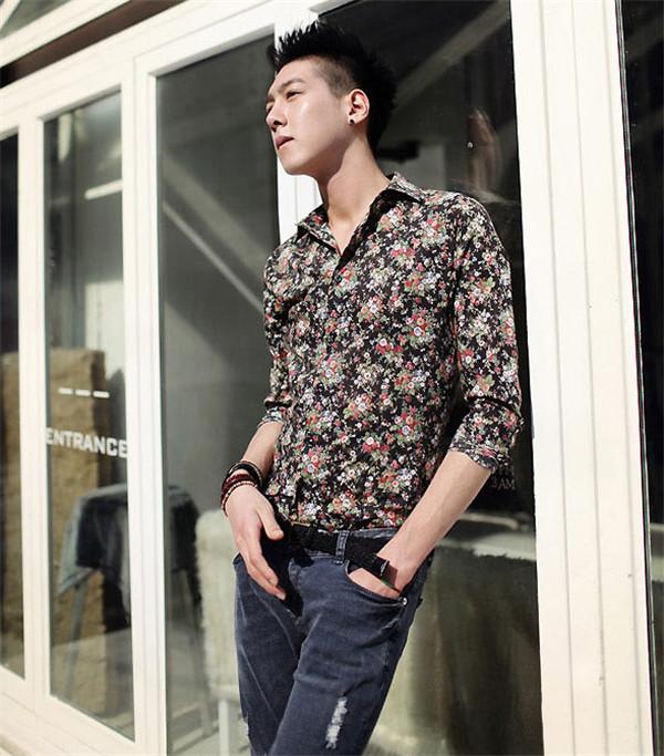 2013 Men Fashion Floral Shirt flower all match – Wholesale ...
