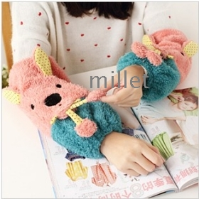 Lazy corner 16 new winter han cute plush rabbit lady's antifouling grows sleeve cuff 35705