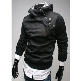 Highest Rate Freeshipping L-3XL Black Grey New Mens Stylish Slim Zipper hoodies jackets Hoody