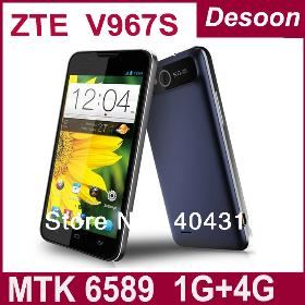 ZTE V967s Phone MTK6589 Quad Core 5 Inch IPS 960x540 1G+4G 5MP Android 4.2 Bluetooth Dual Sim Card GPS Free shipping