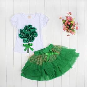 983b25aa27158 Top selling! Girls clothing sets Lovely Big flower T-shirt + tutu skirt 3D  ...
