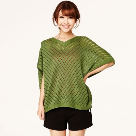 VANCL Tatiana Hollow Knit Sweater Green SKU:179344