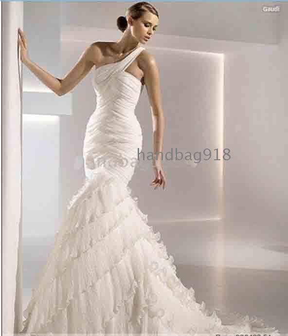 designer trumpet mermaid one shoulder wedding whole