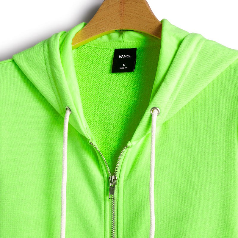 6945784e5c43fe VANCL Neon Culture Zip Hoodie Lime SKU 186365 – Wholesale VANCL .