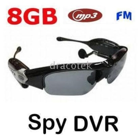 Wholesale-2PC*4GB/8GB Spy sunglass camrecorder Spy DVR sunglass /spy camera sunglass+camera+MP3 +FM radio, for surveillance or fun free shipping-shinystore