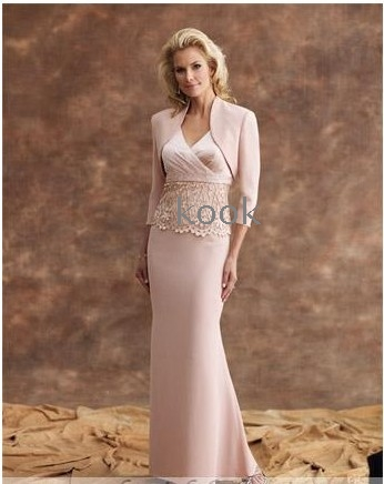 5e3a0a40220 Wholesale - free shipping Mother of the Bride Dresses adorned pale pink  satin two-piece