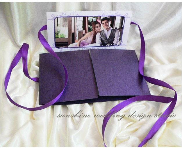 Wedding Invitations In Bulk: Invitation Card Wedding Invitation EV 5 Purple