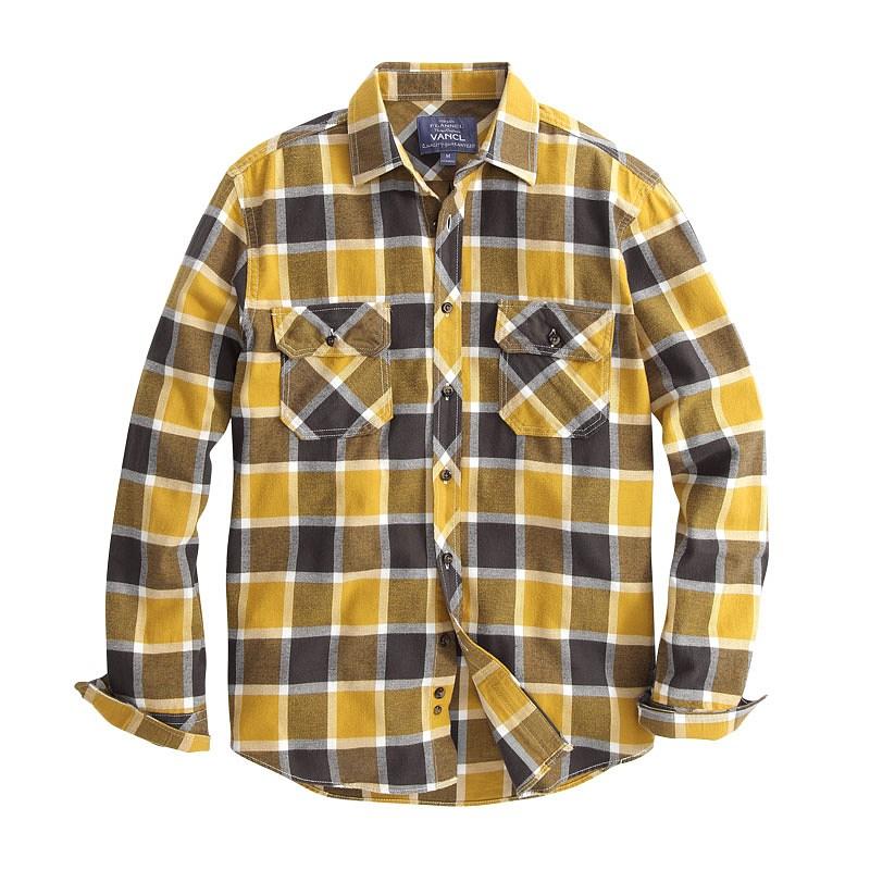 Vancl garvey plaid flannel shirt men yellow gray for Mens yellow plaid flannel shirt
