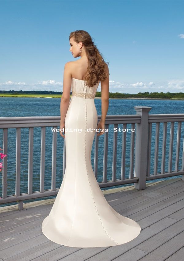 Satin embroidered trim white ivory wedding dress for White wedding dress with blue trim