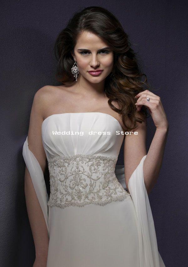 Whisper chiffon with embroidery white ivory wedding dress ml