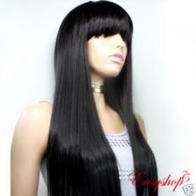 human hair long layer black goth cosplay wig wholesale