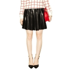 VANCL Ayleen Shiny Leather-Look Pleat Skirt (Women) Black SKU:191075