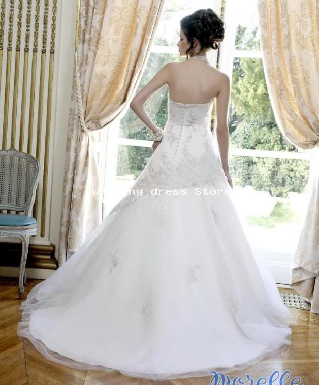 09 Wedding Dress White Ivory Embroidery Satin Gown