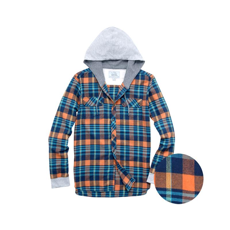 flannel hoodie shirt waffle lining brushed flannel hoodie shirt orange
