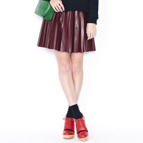 VANCL Ayleen Shiny Leather-Look Pleat Skirt (Women) Burgundy SKU:191076