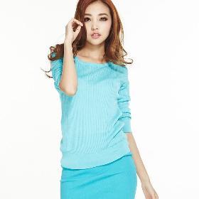 VANCL Pull à tricot à carreaux Carrie (Femme) Lac Bleu SKU: 559450