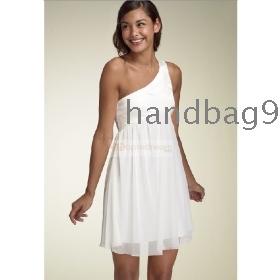 White  Shoulder Dress on One Shoulder White Bridal Dress Evening Dress Prom     One Shoulder