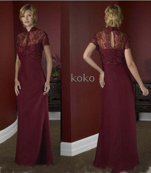 230abc2d7da Wholesale -free shipping new Evening Bride Dress burgundy High collar satin  and organza floor length