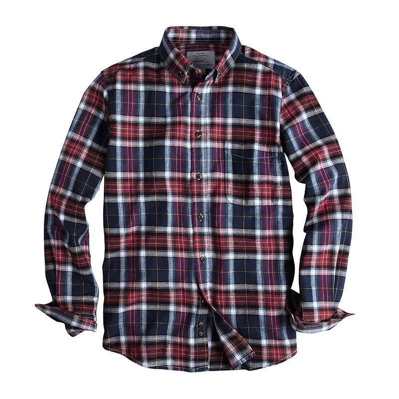 Vancl Mendal Plaid Flannel Shirt Men Blue Red Sku