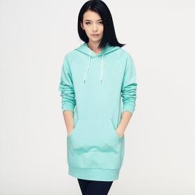 VANCL Lidiya Solid Long Pullover Hoodie (Women) Aqua SKU:180543