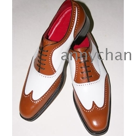 Mens made by hand black & white wing tip oxfords 1.77 inch heels