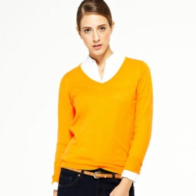 VANCL Carol Sweety V-Neck Knit Sweater (Women) Orange SKU:725056